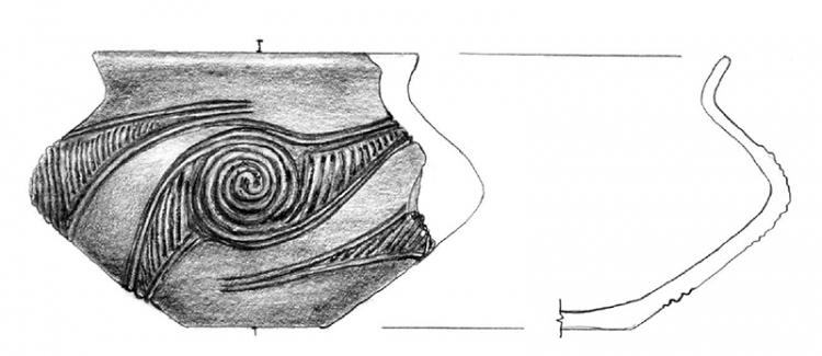 Jellegzetes bronzkori (felsőszőcsi kultúra) edény a leletanyagból