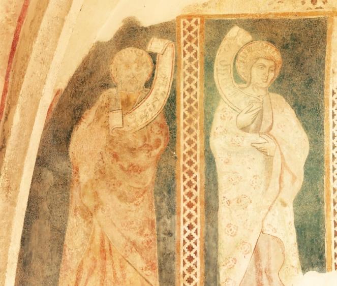 Apostolok ábrázolás a szentély falán
