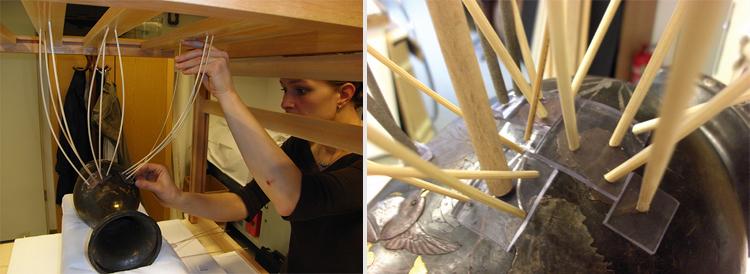 A simbari-keret alkalmazása; Rögzítés szilikongumi lapokkal és bambuszpálcákkal (fotó: Nyíri Gábor)